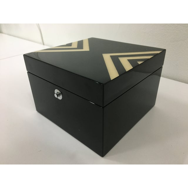 Ercolano Black Lacquer Box With Geometric Motif For Sale - Image 12 of 12