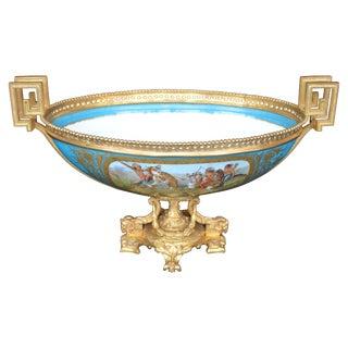 Sevres Style Parcel-Gilt Ormolu Mounted Enameled Blue Celeste Bowl For Sale