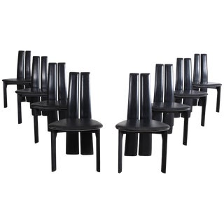 Set of Eight Black Leather Dining Chairs by Van Den Berghe - Pauvers For Sale