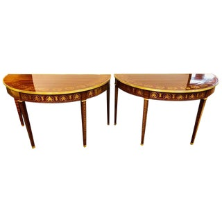Pair of Inlaid Boule Inlaid Demilune Consoles For Sale