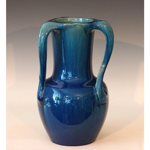 Large Kyoto pottery Art Nouveau vase with lyrical S handles joining the rim to the body and finished in rich blue...