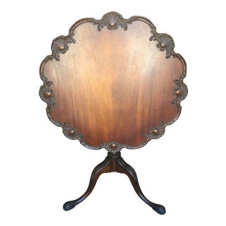 Carved Mahogany Tilt Top Table