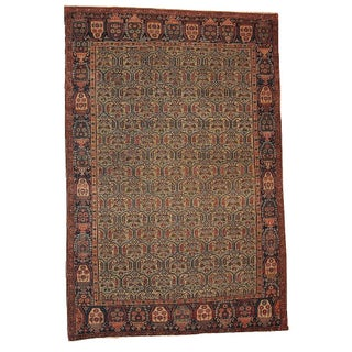 1860s Hand Made Antique Persian Farahan Rug - 4′3″ × 6′4″ For Sale