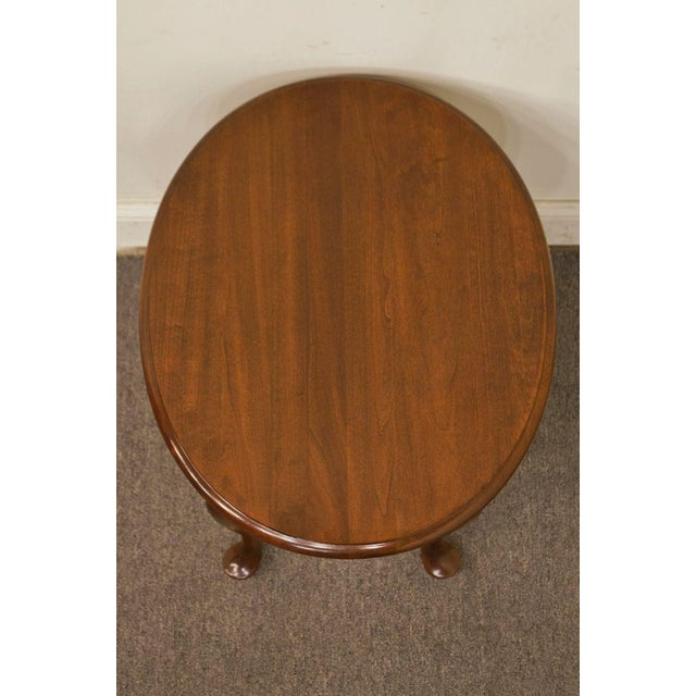 Queen Anne Mersman Solid Cherry Queen Anne Oval End Table For Sale - Image 3 of 8