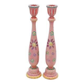Hand Painted Wooden Candlesticks - a Pair For Sale