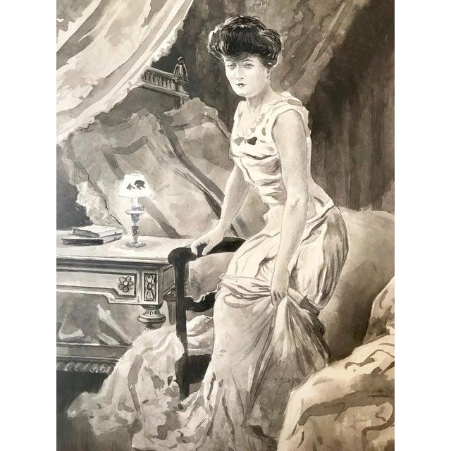 Illustration C.1890 Antique Watercolor Painting Victorian Boudoir For Sale - Image 3 of 6