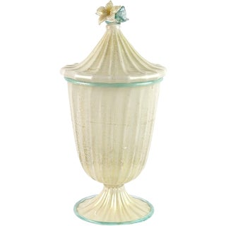 Barovier Toso Murano White Aqua Gold Flecks Italian Art Glass Jar Container For Sale