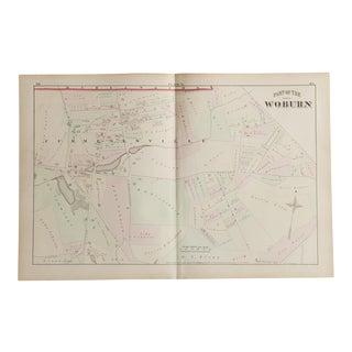 Antique Woburn Massachusetts Atlas Map Plate N