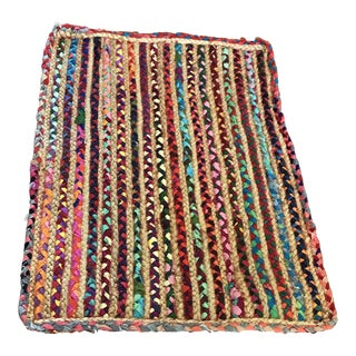 Boho Cotton Jute Accent Rug - 2′ × 3′ For Sale