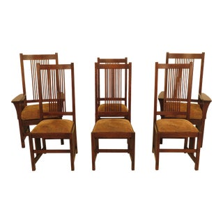 Stickley Mission Oak High Back Dining Room Chairs - Set of 6 For Sale