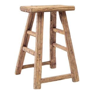 Sturdy Rectangular Old Wooden Stool For Sale