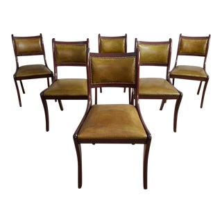 Antique Set of 6 Fine English Regency Saber Leg Dining Chairs Early 1900s For Sale