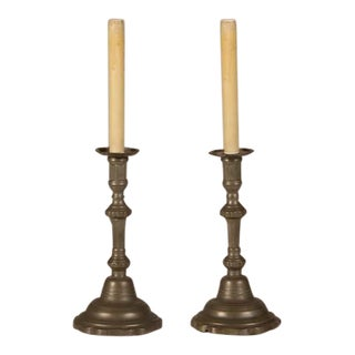 Late 19th Century Antique French Louis XIV Style Pewter Candlestick Lamps - a Pair For Sale