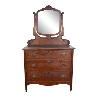19th Century Traditional George Style Dresser With Mirror For Sale