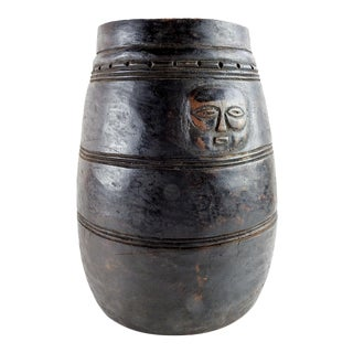 Large Hand Carved Wood Pot With Faces For Sale