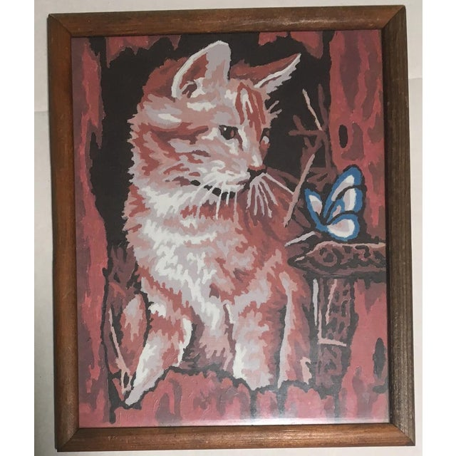 Vintage Framed Dog & Cat Paint by Number Paintings- A Pair For Sale - Image 4 of 6