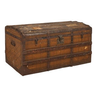 Antique French Wooden Trunk For Sale