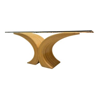Split Reed Rattan Sculptural X-Form Dining Table For Sale