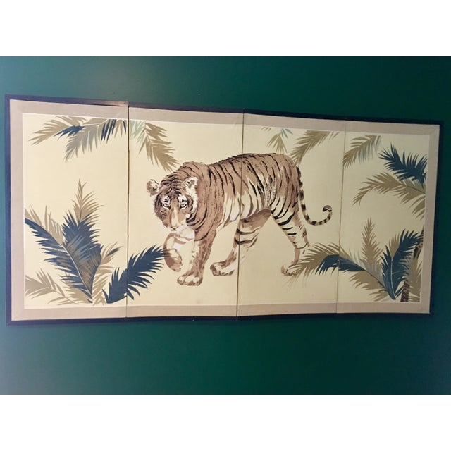 Art Deco 1940's Tiger & Foliage Panel Painting on Silk - Image 4 of 7