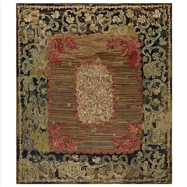 """Antique American Hooked Rug 8'10' X 10'3"""" For Sale In New York - Image 6 of 6"""