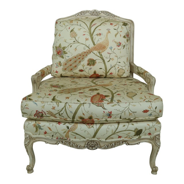 Thomasville Decorator Upholstered Peacock Print French Chair For Sale