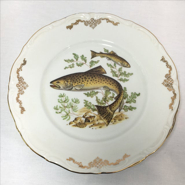 Bavarian Winterling China Fish Pattern Plates - 7 For Sale - Image 4 of 7