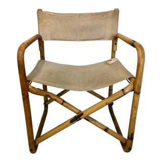 1960s Vintage Tiger Bamboo Folding Directors Chair For Sale