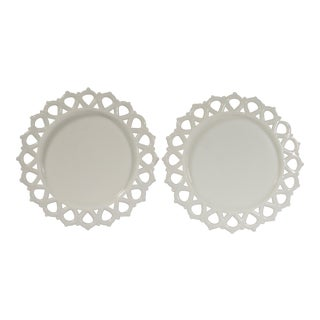 1950's Cottage Milk Glass Plates - a Pair For Sale
