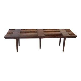Mid Century Style Walnut Slat Bench For Sale