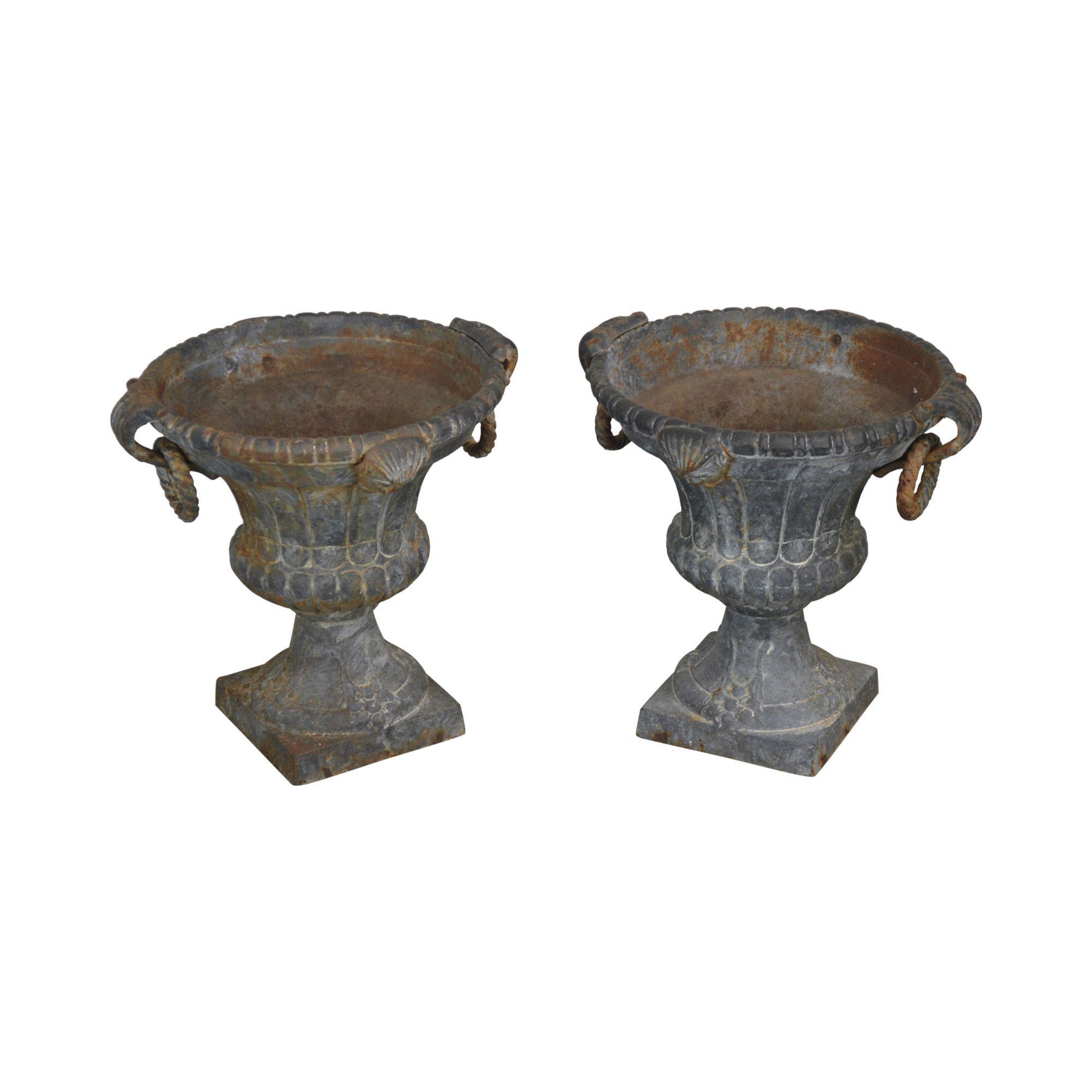 Beau Vintage Pair Of Cast Iron Garden Urns