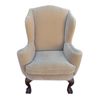 Velvet Wing-Back Chair With Claw and Ball Feet For Sale