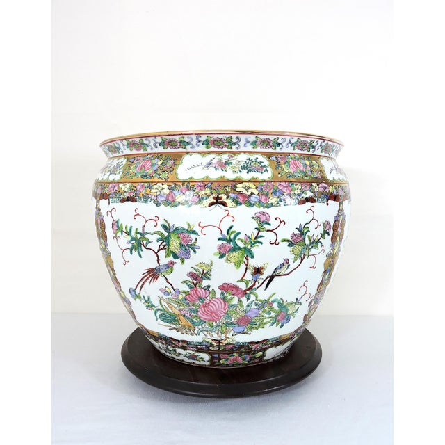 Exquisite detail inside and out, a high quality Rose Canton Planter or Jardiniere. This gold fish bowl or planter is made...