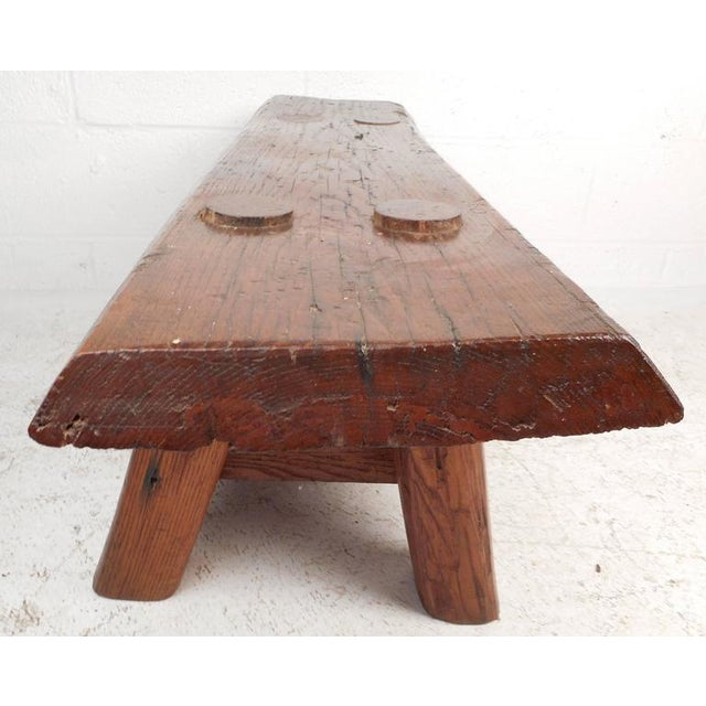 Mid-Century Modern Live Edge Cobbler Bench For Sale - Image 4 of 7
