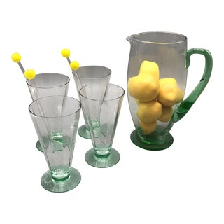 Mid Century Glass Pitcher Set With 4 Drinking Glass & Straws and Decorative Lemons - 5 Glasses, 4 Stirrers, and Decorative Lemons For Sale