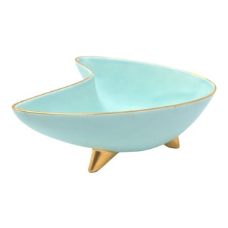 Vintage MCM Mid Century Modern Boomerang Bowl With Gold Rim and Gold Atomic Feet For Sale