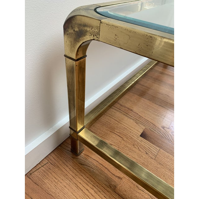 Contemporary 1970s Hollywood Regency Mastercraft Brass and Glass Square Cocktail Table For Sale - Image 3 of 13