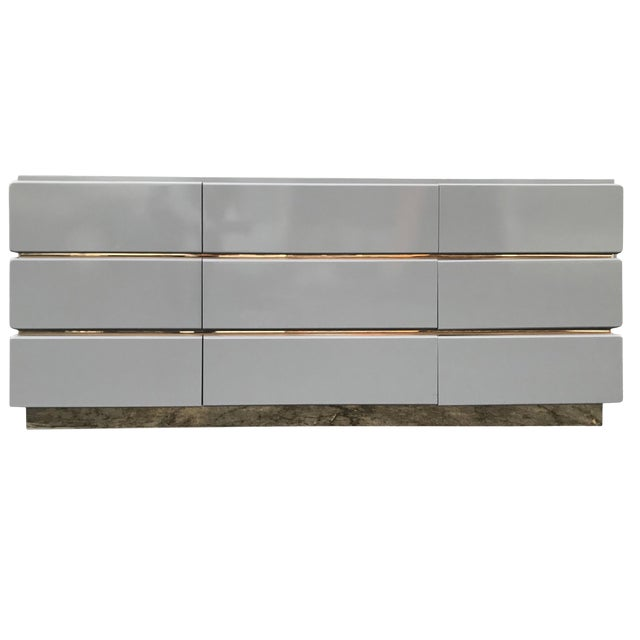 Vintage Lane Lacquered and Brass Credenza For Sale