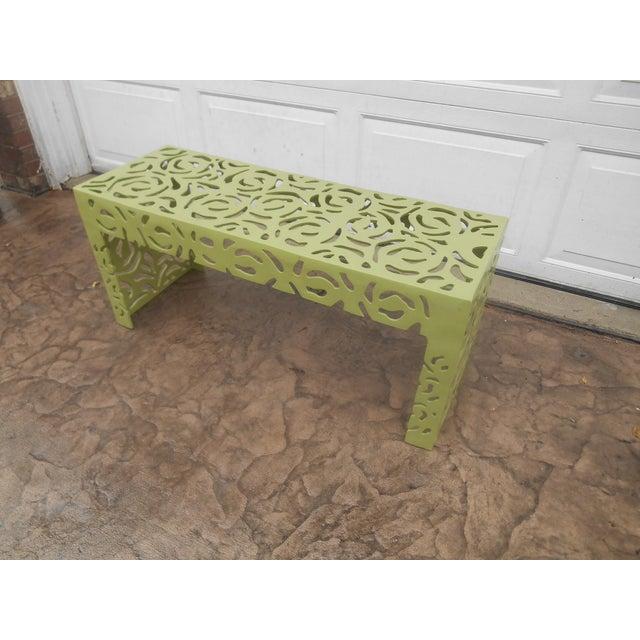 Boho Chic Contemporary Pistachio Iron Patio/Garden Bench For Sale - Image 3 of 9
