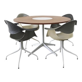 1960s Mid-Century Modern George Nelson for Herman Miller Daf Chairs and Lazy Susan Dining Table - 5 Pieces