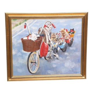 Signed c.l. Ratti Original Painting, Cats Riding Bikes; Oil on Canvas, Dated 1981 For Sale