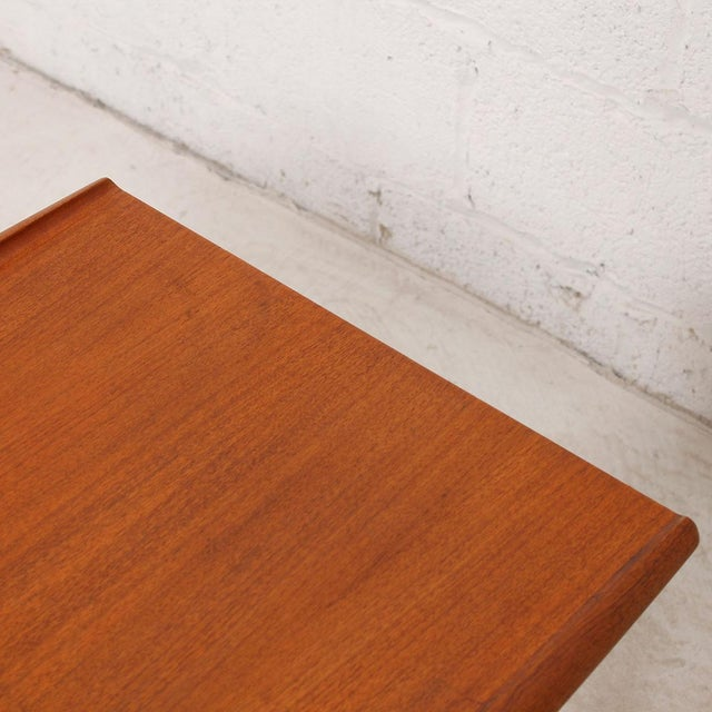 Brown Grete Jalk Teak End Table with Raised Lip Edge For Sale - Image 8 of 9