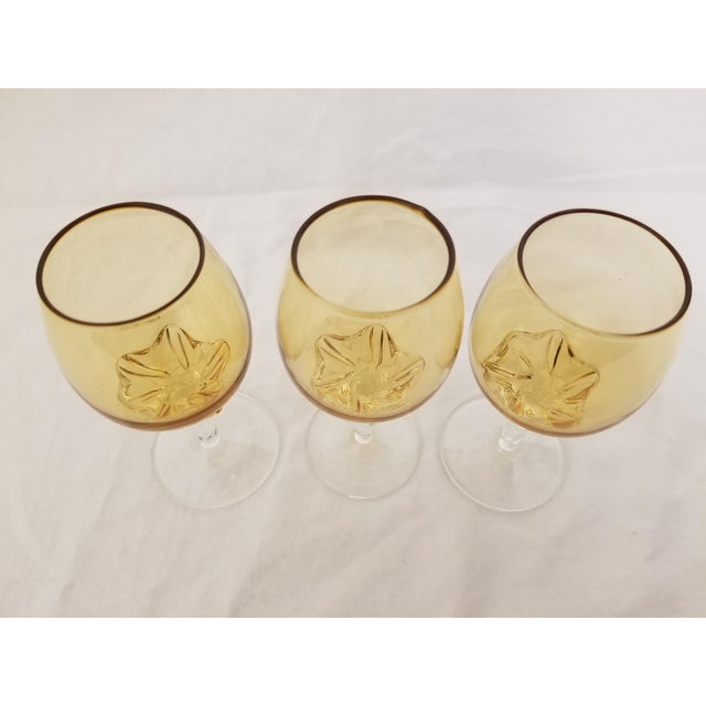 Vintage Venetian Blown Glass Amber Decanter & Cordial Glasses - Set of 4 For Sale - Image 9 of 13