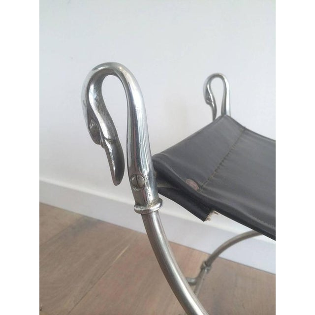 Brushed Steel Stool With Swanheads Attributed to Maison Jansen - Image 6 of 11