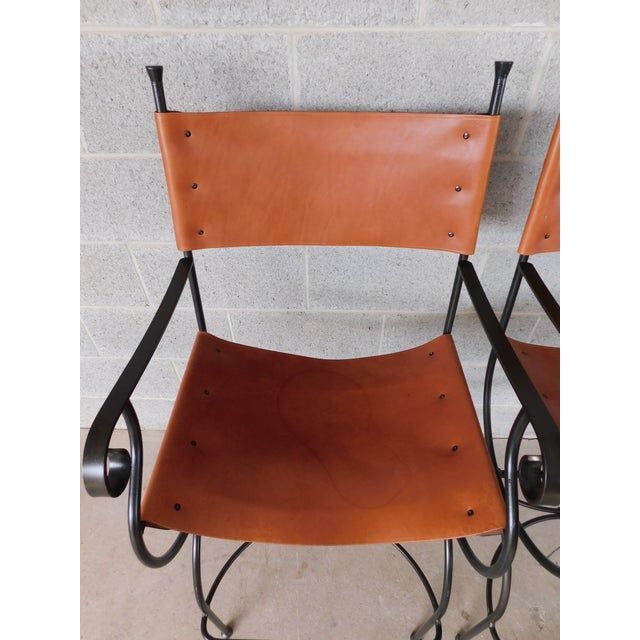 Black Charleston Forge Wrought Iron Slight Leather Seat Bar Stools - a Pair For Sale - Image 8 of 13