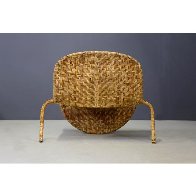 Wood Italian Mid-Century Armchairs in Beige Colored Rattan, 1950s For Sale - Image 7 of 12