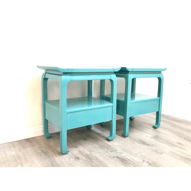 Kent Coffey Kent Coffey Turquoise Lacquered End Tables - A Pair For Sale - Image 4 of 12