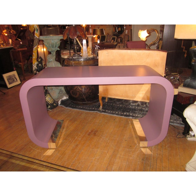Vintage Postmodern Lavender Mauve Pink-Purple Waterfall Console Table For Sale - Image 11 of 11