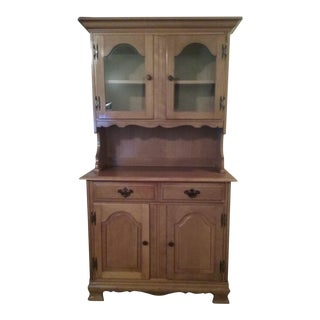19900s Country Wood China Buffet Hutch With Glass Doors For Sale