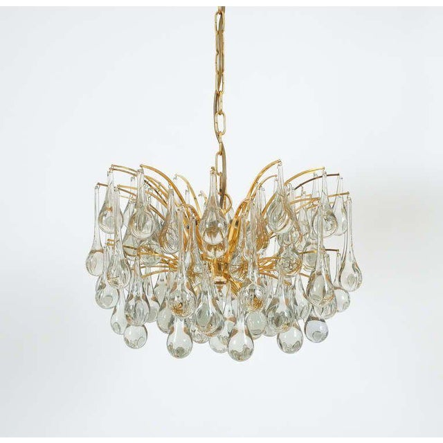 Gold Delicate Murano Glass and gilded Brass Tear Drop Chandelier, 1970 For Sale - Image 8 of 8