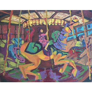 1940's Expressionist Style Carousel Painting Original Vintage For Sale